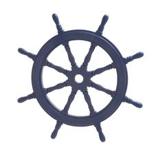 Navy Blue Polished Attractive Wood Ship Wheel
