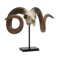 Benzara Fascinating Polystone Sheep Skull On Stand