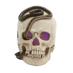 "Benzara Polystone Skull Candle Holder 7""W, 9""H"