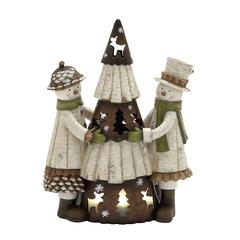 Adorable Poly Resin Large Two Snowmen Holding Xmas Tree