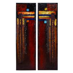 Benzara Canvas Painting Set Of 2 Assorted With Distinguished Art Appeal