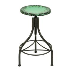 Benzara Metal Bar Stool In Brown Shade With Splash Of Green Over The Seat