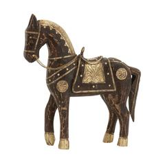 Attractive Well Designed Wood Brass Horse