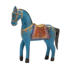 Benzara Well Designed Customary Styled Wood Painted Horse