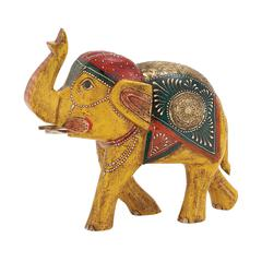 Benzara Attractive And Ethnic Wood Metal Painted Elephant