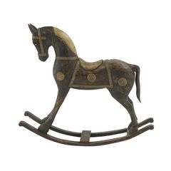 "Benzara Attractive Wood Brass Rocking Horse 36""W, 32""H"