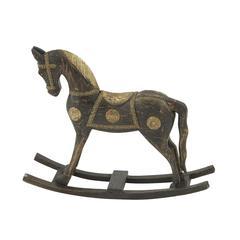 "Benzara Beautiful Wood Brass Rocking Horse 30""W, 25""H"