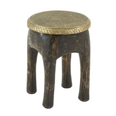 "Benzara Antique Wood Brass Foot Stool 14""W, 18""H"