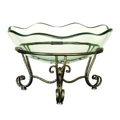 Benzara Glass Bowl Metal Stand With Bronze- Golden Finish