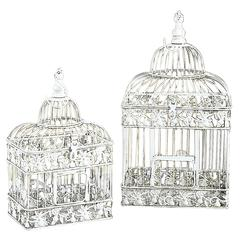 Benzara Metal Bird Cage S/2 Parakeet Birds Cages