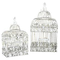 Benzara Metal Bird Cage S/2 Parakeet Birds Cages