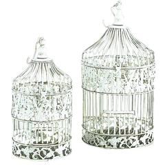 Benzara Metal Bird Cage S/2 Shabby Chic White