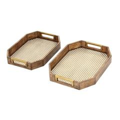 "Wood Metal Tray Set Of 2 16"", 18""W, Light Brown & Gold"