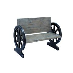Benzara Solid Wood Bench With Weight Bearing Wheel Shaped Legs