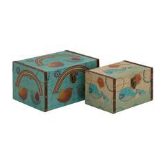 Benzara Creative Styled Wood Canvas Box