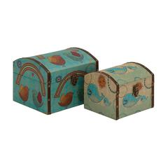 Benzara Classy Styled Wood Canvas Box
