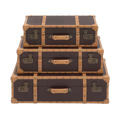 Benzara The Lovely Set Of 3 Wood Vinyl Case