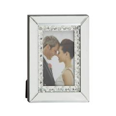 "Charming Wood Mirror Photo Frame 6""W, 8""H"