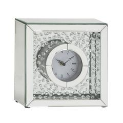 "Classy Wood Mirror Table Clock 10""W, 10""H"
