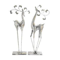 Uniquely Styled Set Of Two Metal Deer Decors