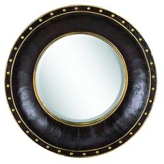 Benzara Wood Leather Mirror Rnd Refreshing Home Decor