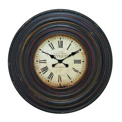 Wall Clock In Vintage Inspired Pattern And Dark Brown Finish
