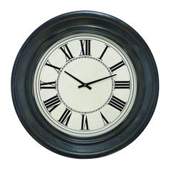 Wall Clock In Dark Brown Finish And Black Roman Numerals