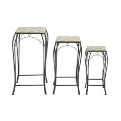 Alluring Set Of 3 Metal Stone Plant Stand