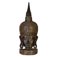 Wood Buddha Head Religious Blend Decor