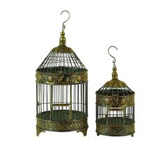 Benzara Metal Bird Cage S/2 Garden Decorative Item