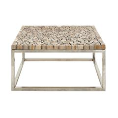 Exceptionally Designed Stainless Steel Teak Coffee Table