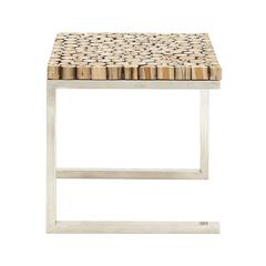 Benzara Stainless Steel Teak Wood Side Table
