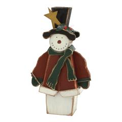 Benzara Fascinating Standing Snowman With Green Scarf
