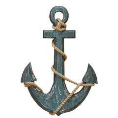 Wood Anchor With Rope Nautical Decor