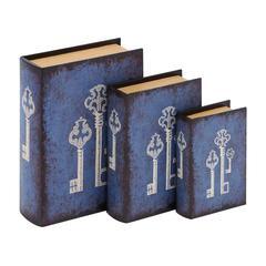 Benzara Antique Key Themed Wooden Vinyl Book Sets