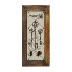 Benzara Postcard With Key Design Antique Wall Hook Décor