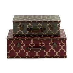 Benzara Elegant And Vintage Themed Wood Vinyl Case Set Of 2