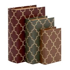 Stylish And Antique Themed Wood Vinyl Book Box Set Of 3