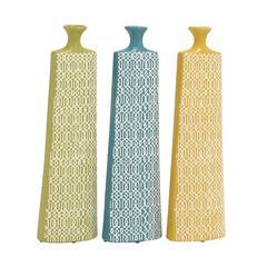 Benzara Set Of 3 Assorted Long And Uniquely Designed Ceramic Vases