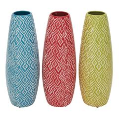 Benzara Set Of 3 Assorted Lovely And Artistic Ceramic Vases
