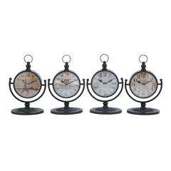 Benzara Metal Desk Clock Assorted In Natural Shades (Set Of 4)