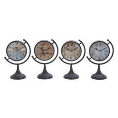 Benzara Metal Desk Clock Assorted With Fine Design (Set Of 4)
