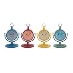 Benzara The Amazing Metal Desk Clock 4 Assorted