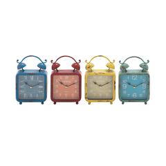 Benzara The Distressed But Colourful Metal Desk Clock 4 Assorted