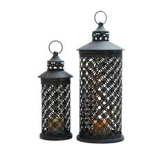 Benzara Candle Lantern With Intricate Details - Set Of 2