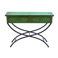 Metal Wood Table With Accentuated Curved Metal Legs