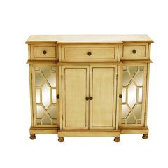 Benzara Wood Mirror Cabinet Lavished With A Rich Beige Color