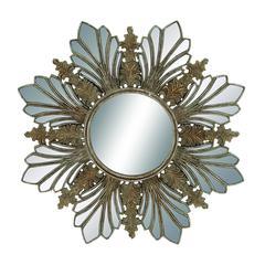 Benzara Elegant Flower Shaped Golden Mirror Décor
