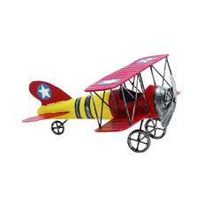 Yellow Red Decorative Metal Bi Airplane With Stars