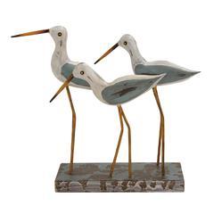 Benzara Fascinating Styled Wood Metal 3 Birds On Stand